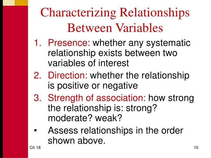 Characterizing Relationships Between Variables