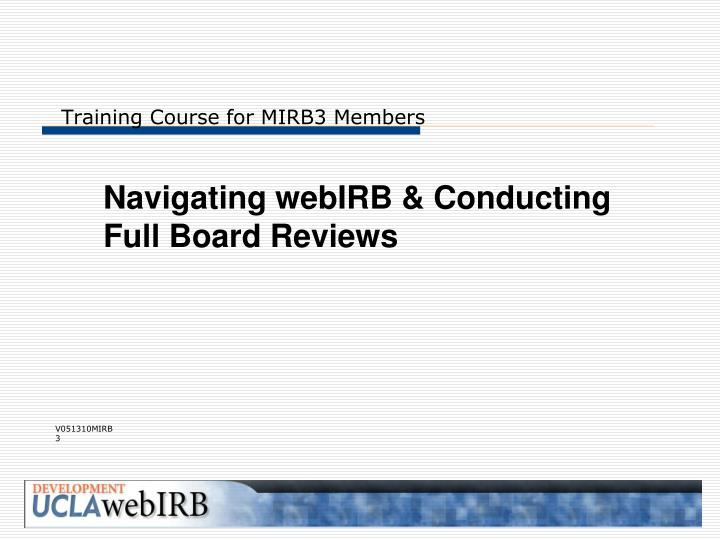 training course for mirb3 members n.