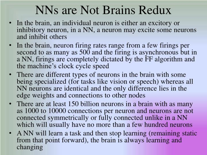 NNs are Not Brains Redux
