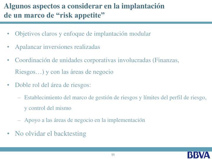 Algunos aspectos a considerar en la implantación
