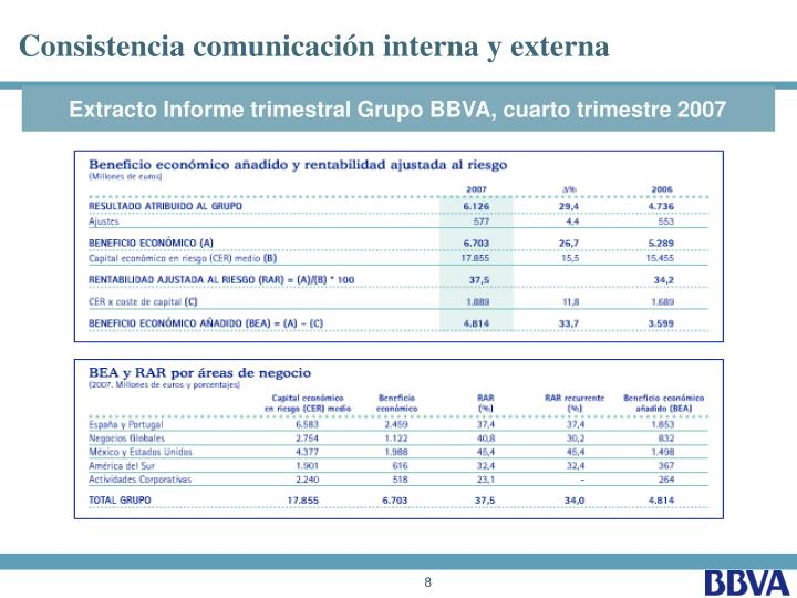 Consistencia comunicación interna y externa