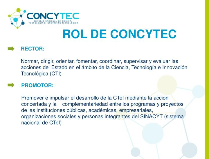 ROL DE CONCYTEC
