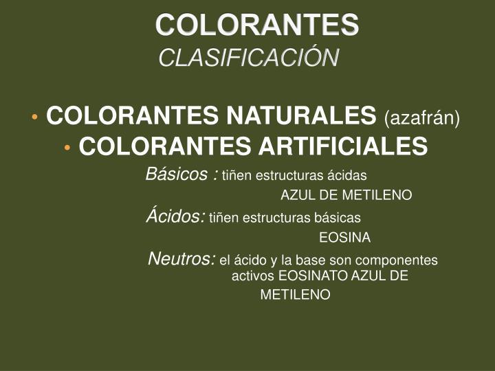 Colorantes clasificaci n