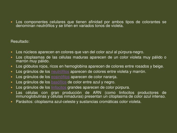 Los componentes celulares que tienen afinidad por ambos tipos de colorantes se denominan