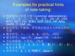examples for practical hints of note taking