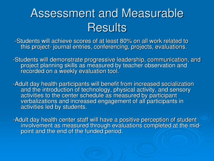 Assessment and Measurable Results