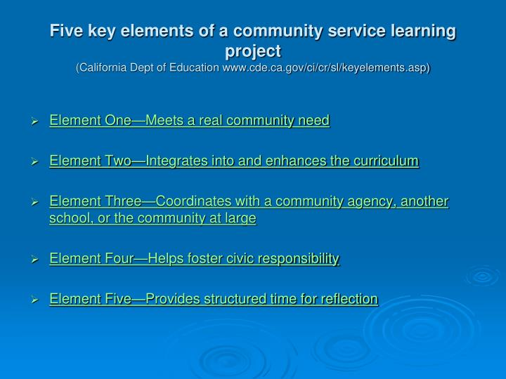 Five key elements of a community service learning project