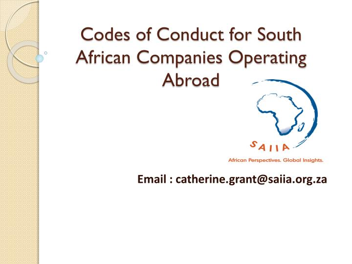 codes of conduct for south african companies operating abroad n.