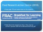 food research action centre 2010