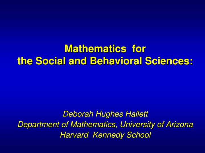 mathematics for the social and behavioral sciences n.
