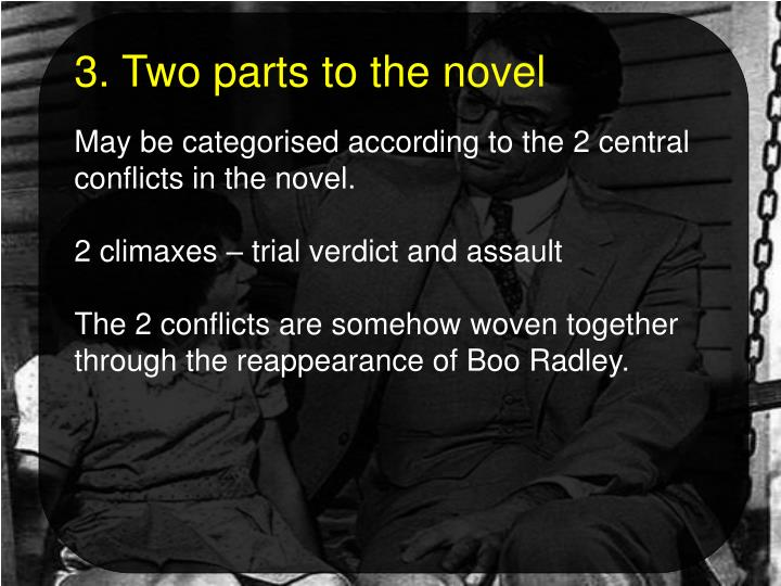 3. Two parts to the novel