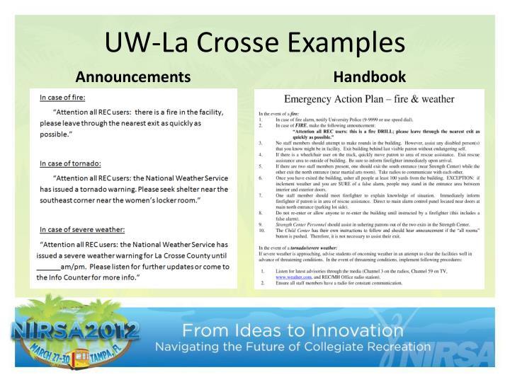 UW-La Crosse Examples