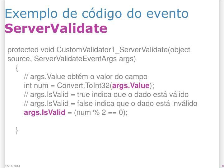 Exemplo de código do evento