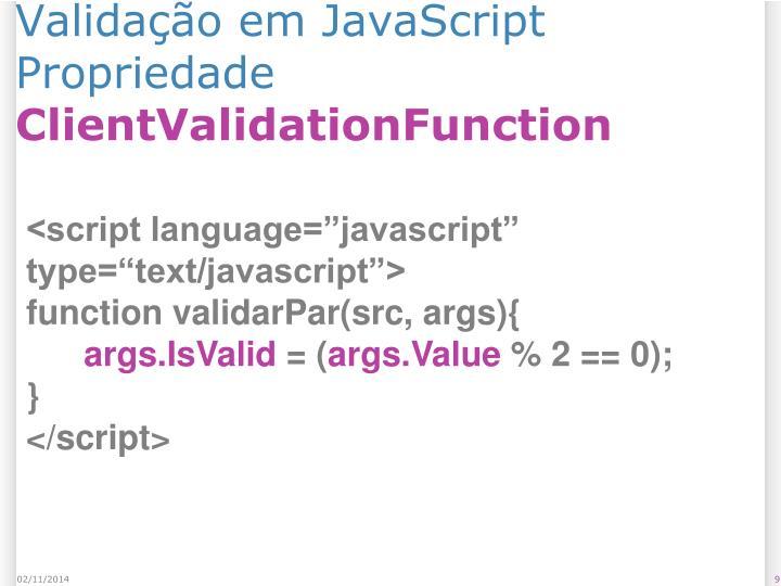 Validação em JavaScript