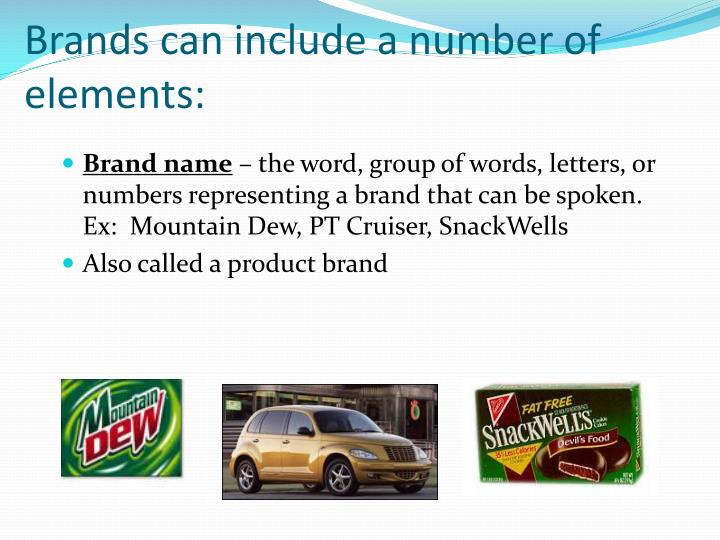 Brands can include a number of elements