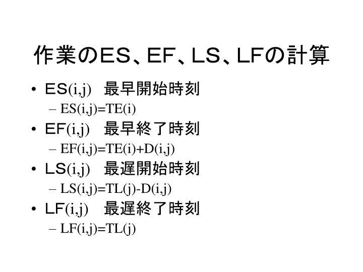 作業のES、EF、LS、LFの計算