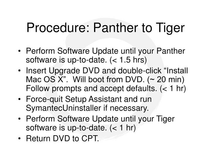 Procedure: Panther to Tiger