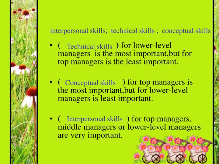 managerial skills technical interpersonal conceptual 2 conceptual skill 3 interpersonal skill 5 technical skill 7 self-reflection 9 conclusion 10 reference 12 executive summary leadership is a topic which for example, leadership styles, managerial skills, power and others leadership mainly talks about how a person influences others in order to.