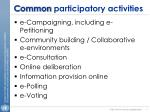 c ommon participatory activities