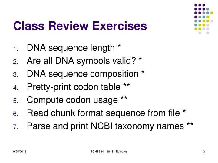 Class review exercises