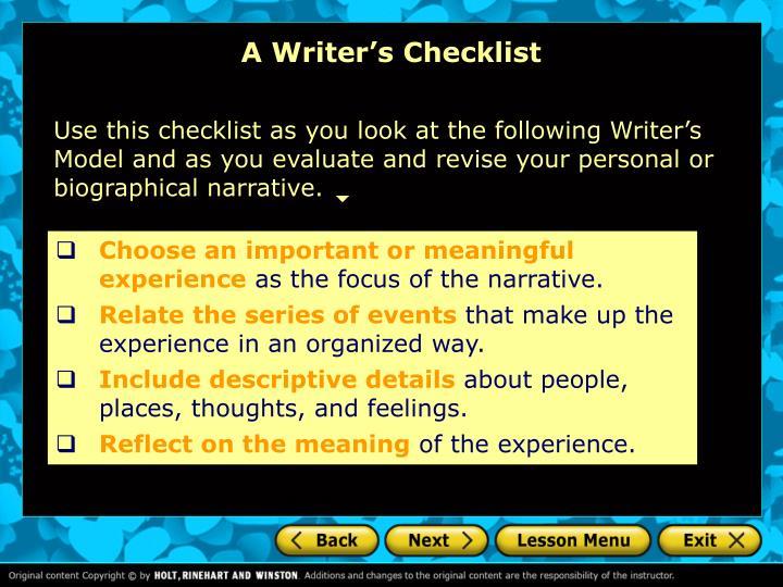 A Writer's Checklist