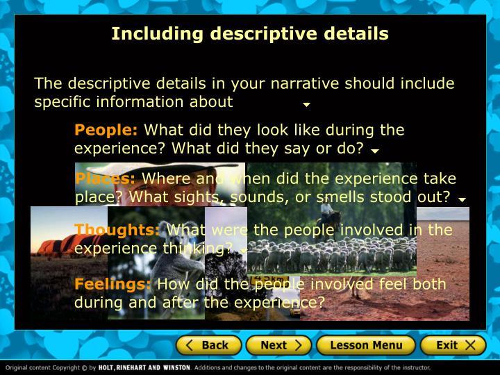 Including descriptive details