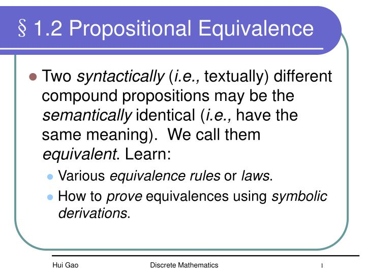 1 2 propositional equivalence n.