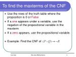 to find the maxterms of the cnf