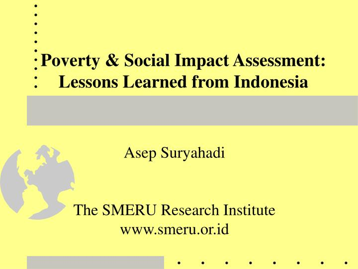 poverty social impact assessment lessons learned from indonesia n.