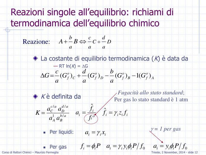 La costante di equilibrio termodinamica (