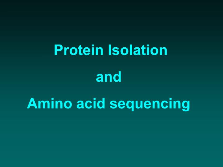 protein isolation and amino acid sequencing n.