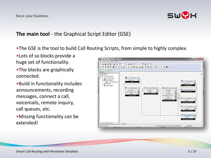 The GSE is the tool to build Call Routing Scripts, from simple to highly complex.