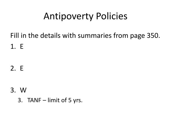 Antipoverty Policies