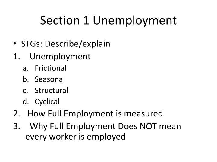 Section 1 unemployment