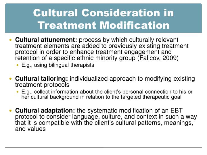 cultural consideration Overview thefactthatpatientsarecomplexanddynamicisnotanewnotiontoanycliniciansuchthingsasreligion, culture, and employment can play a part in their health and be an important component in understanding.
