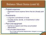 balance sheet items cont d