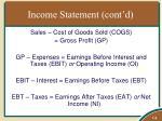 income statement cont d
