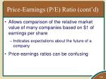 price earnings p e ratio cont d