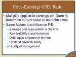 price earnings p e ratio
