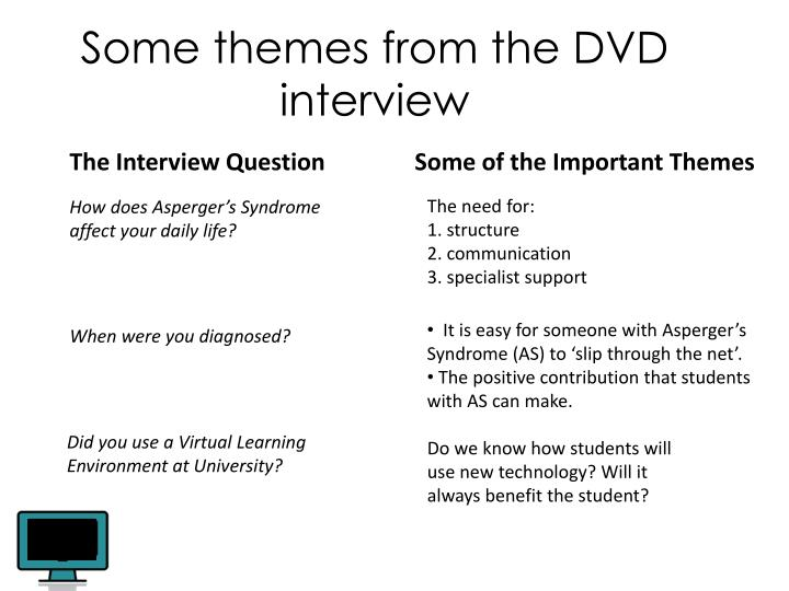 Some themes from the DVD interview