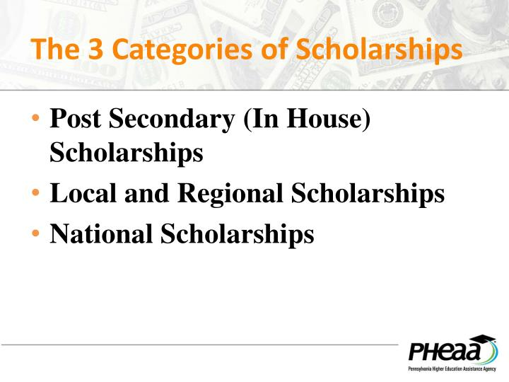 The 3 Categories of Scholarships