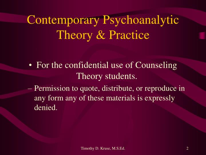 Contemporary psychoanalytic theory practice1