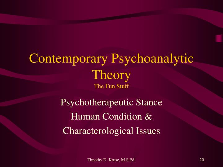 Contemporary Psychoanalytic Theory
