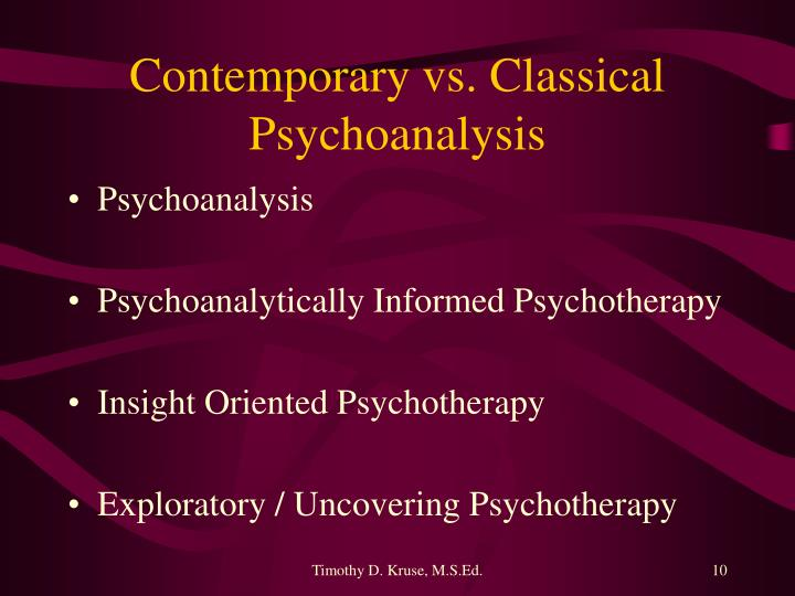Contemporary vs. Classical Psychoanalysis