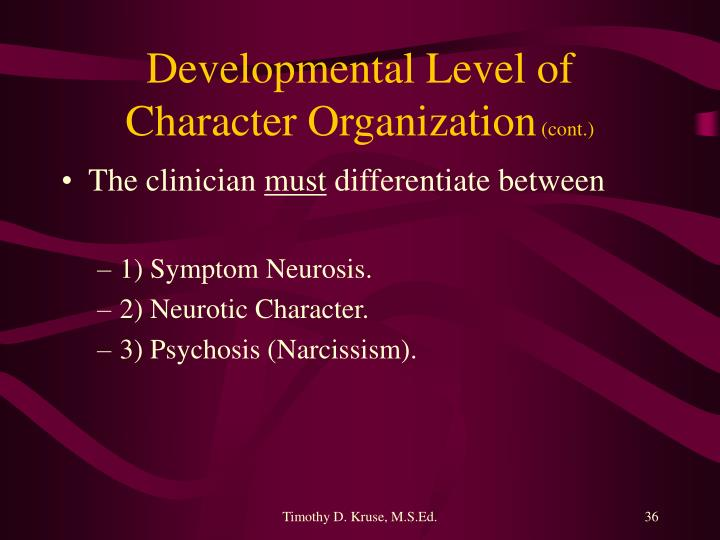 Developmental Level of Character Organization