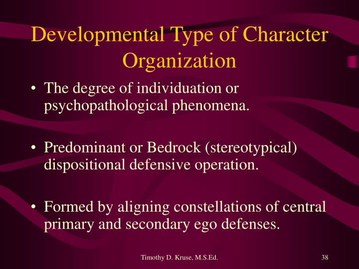 Developmental Type of Character Organization