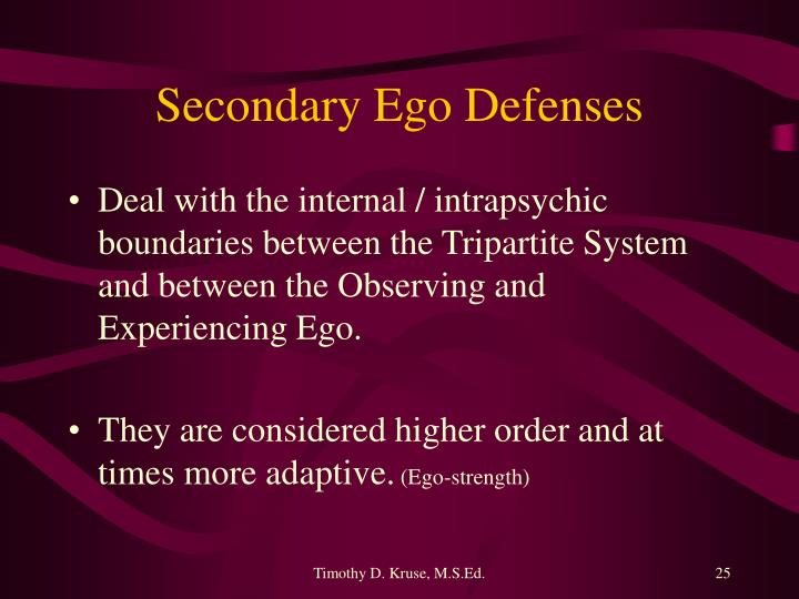 Secondary Ego Defenses