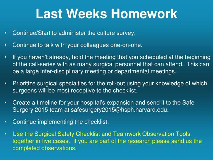 Last Weeks Homework