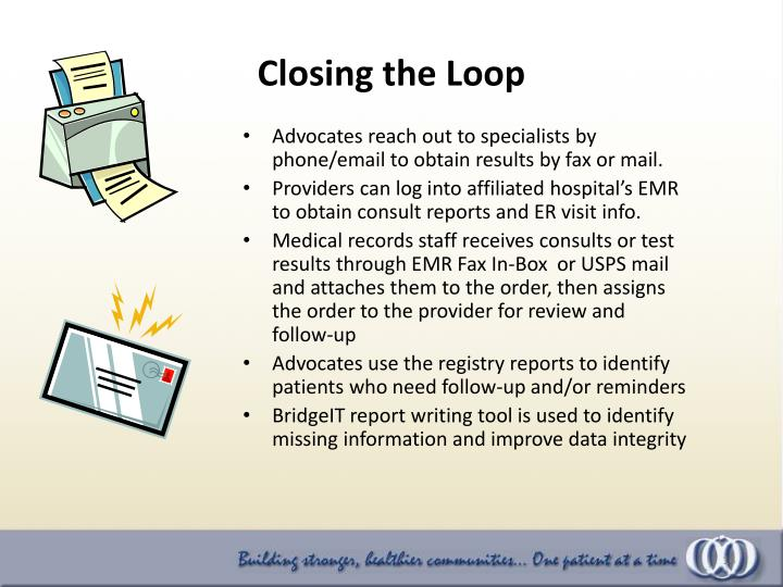 Advocates reach out to specialists by phone/email to obtain results by fax or mail.