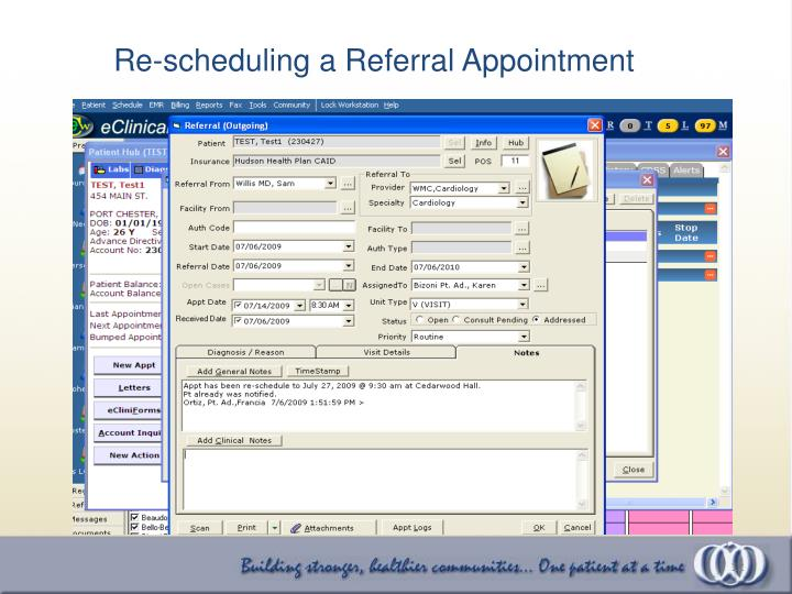 Re-scheduling a Referral Appointment